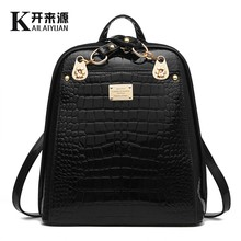 KLY 100% Genuine leather Women backpack 2016 New Fashionista backpack new students are bright leather backpack