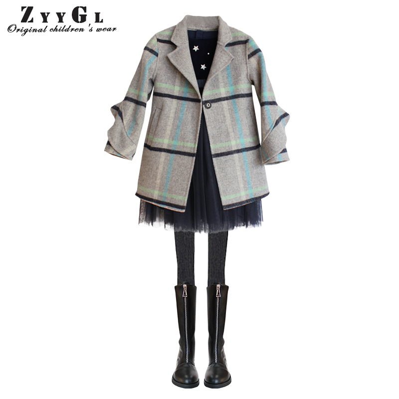ZYYGL children clothing Hand sewn Wool cashmere girls coat Fur coat for children College style long sleeve overcoat kid clothes 2017 children wool fur coat winter warm natural 100% wool long stlye solid suit collar clothing for boys girls full jacket t021
