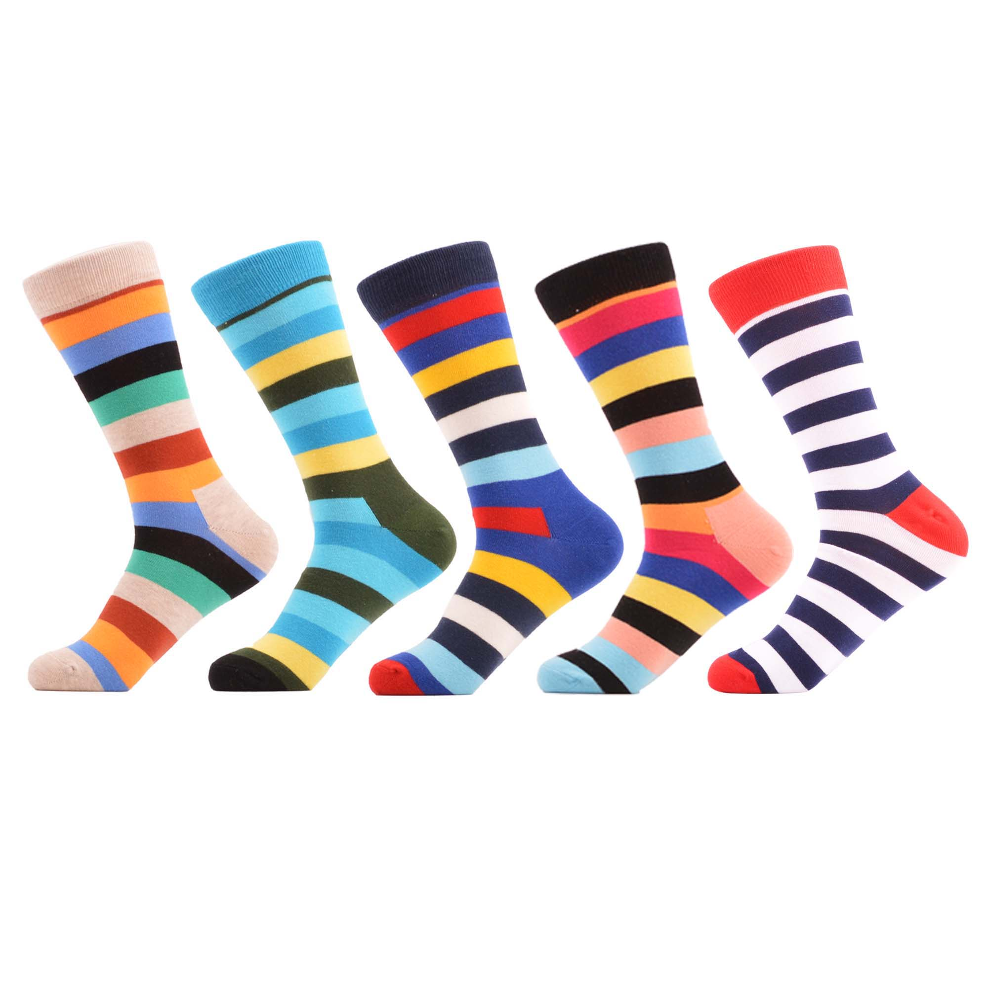 SANZETTI 5 Pairs/Lot Men Casual Colorful Happy Crew Socks Hip Hop Novelty Funny Combed Cotton Socks Dress Breathable Gift Socks