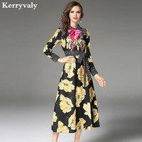 High-end Jesień Kwiatowy Print Haft Sukienka Kobiety Odzież 2018 Vestido Longo Panie Długi Wieczór Partyjnej Sukni Moda Praia K9457