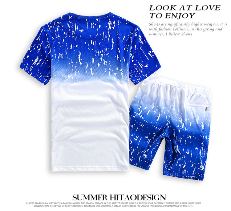 08cfa1d6b4b Large size L 8XL Blue ink gradient Cotton Shorts Men Suit 2 PCS Mens Shorts  Set Casual Short Male Bermuda Masculina de marca-in Casual Shorts from Men s  ...