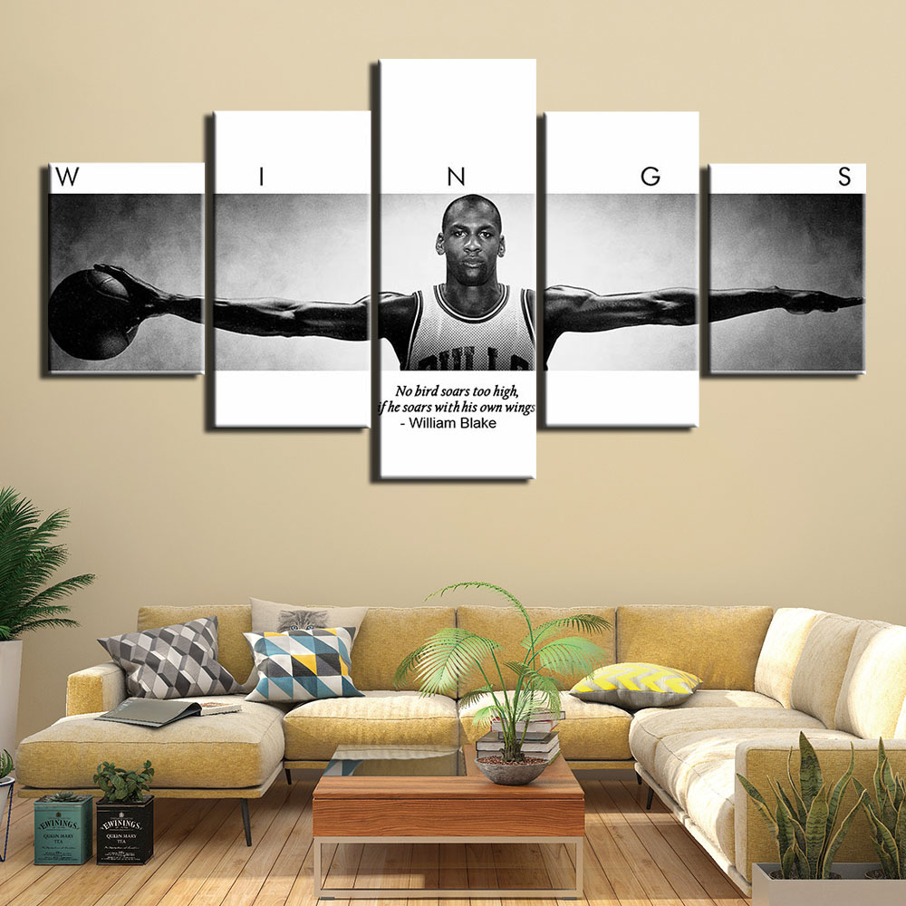<font><b>5</b></font> Panel basketball player Michael <font><b>Jordan</b></font> wings Inspirational quotes Painting Canvas HD print Wall Art <font><b>5</b></font> piece sports poster image