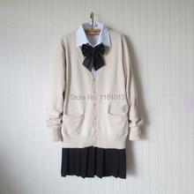 Conjunto de traje de uniforme escolar japonés, suéter cárdigan de almendra/Beige + camisa de manga larga de Blanco sólido + Falda plisada negra pura