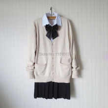 цена на japanese school uniform suit set Almond / Beige Cardigan sweater + solid white long sleeve shirt + pure black Pleated skirt