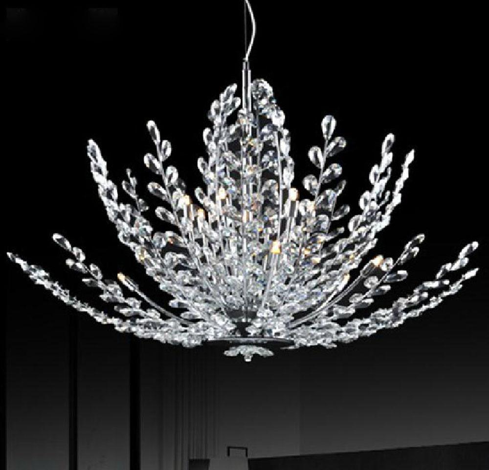 Ac110v 220 v high end luxe chrome gepolijst crystal led hanglampen 2017 lustres art deco home