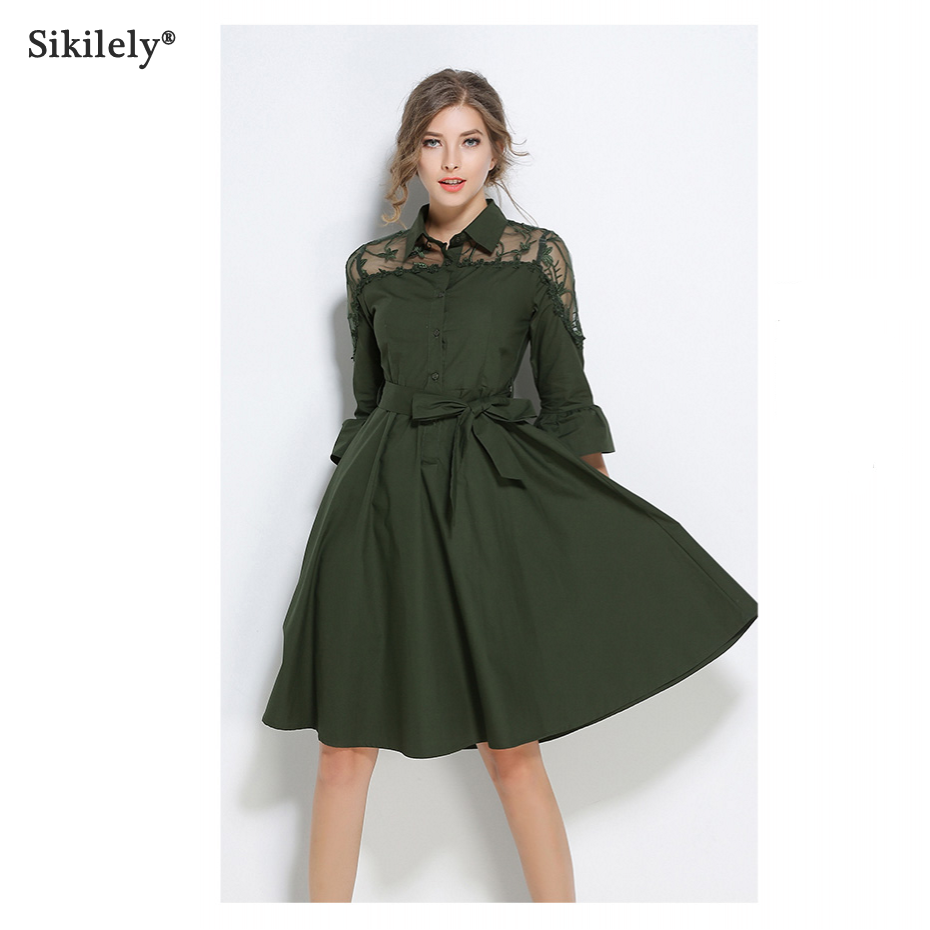 450c4f78316b Sikilely New Womens Dresses 3 4 Sleeve Summer Fashion Army Green Shirt Dress  Sash Net Embroidery Knee Length Lady Work 2018-in Dresses from Women s  Clothing ...