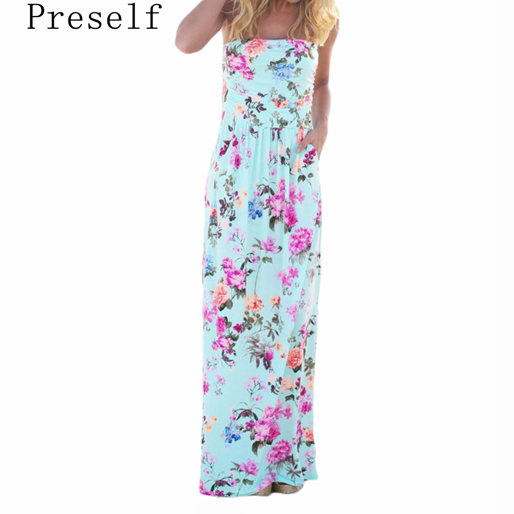 Preself Sexy Strapless Long Dress Women Casual High Wasit Floral Printed Pleats Pockets Maxi Dress Summer