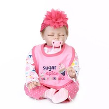 Nicery 22inch 55cm Reborn Baby Doll Magnetic Mouth Soft Silicone Lifelike Girl Toy Gift for Children Pink Sugar Ice Cream