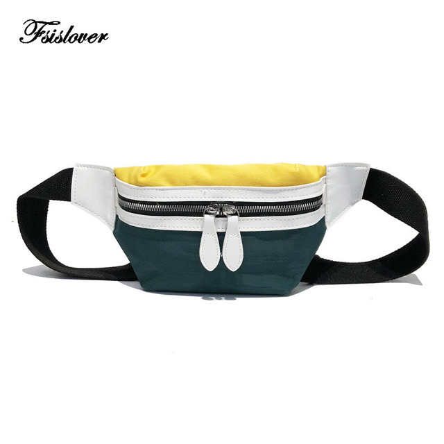 FSISLOVER Bag Belt Women 2018 New Canvas Bum BagLeisure Panelled Shoulder Bags Fanny Pack For Women Girls Letter Waist Bag Packs