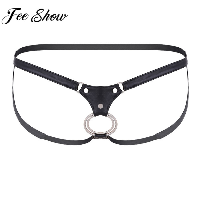 Feeshow Men's Briefs Sexy Mens Lingerie Gay Penis Open Butt Wonderjock Underwear Cuecas Gay Bikini G-string Male Underwear