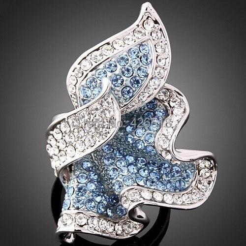 Свадебные украшения для Для женщин сплава с голубыми кристаллами Стразы листьев Дизайн обручальные кольца