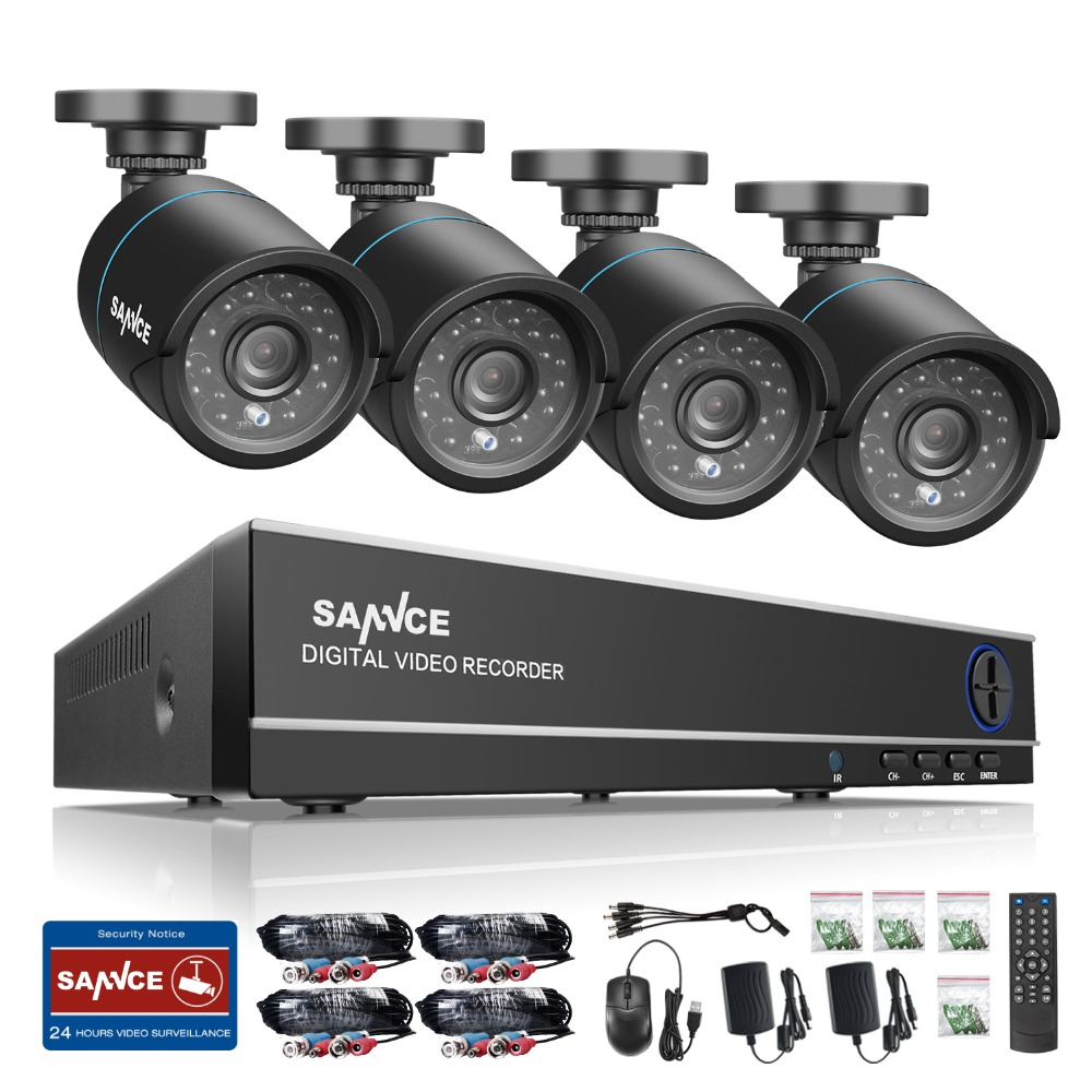 SANNCE 4CH HD 1080P 4IN1 DVR CCTV System 4pcs 720P TVI Security Cameras p2p Outdoor Waterproof
