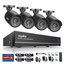 SANNCE 4CH HD 1080P 4IN1 DVR CCTV System 4pcs 720P TVI Security Cameras p2p Outdoor Waterproof Camera Surveillance kit