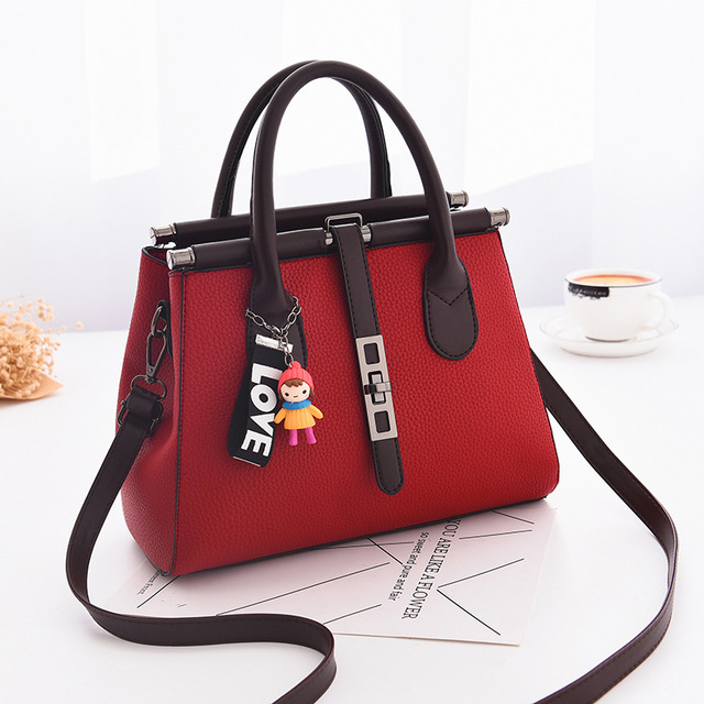63b029fbf5b MONNET CAUTHY Female Totes Leisure Fashion Office Ladies Handbags Solid  Color Wine Red Brown Black Grey Deep Pink Crossbody Bags