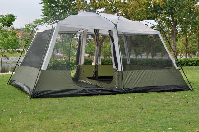 2017 high quality 6-12 person large space super strong waterproof windproof camping family party tent