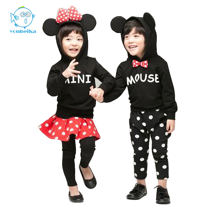 2017Children Sets Unisex Mickey Clothes For Baby Boys And Girls Spring Minnie Clothing For Children Cotton Set Suit Long Sleeves