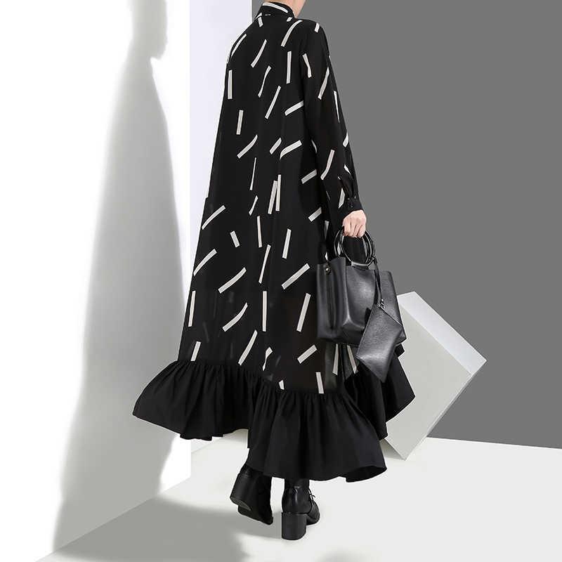 Женское весеннее черное платье-рубашка большого размера 2019, свободные женские платья с длинным рукавом с геометрическим принтом, оборками и подрубочным швом для вечеринки, одежда для клуба, 3907