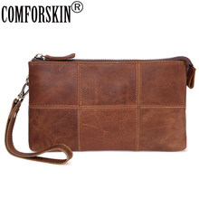 COMFORSKIN  Brand Genuine Leather Long Patchwork Men Wallet 2018 New Arrivals Large Capacity Business Purses with Hand Rope