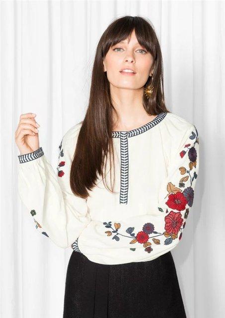 Блузки  2018 вышитый цветок модные рубашки женские брендовые весенние Топ  Блузки Длинные рукава элегантные милые рубашки с ... 9f9eb80c65b08