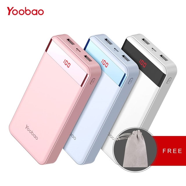 size 40 fbace 3aa13 US $23.99 40% OFF|Yoobao PowerBank 20000 mAh 2 USB Fast Charge Portable  Pover Bank For iPhone X 8 7 6 5 4 Power Bank For Xiaomi Mi A1 MAX Phones-in  ...