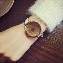 Or Sables De Luxe Mode Montre Femmes Célèbre Marque Diamant Robe Montres mince bande de cuir Horloge À Quartz Femme Dames montre-Bracelet