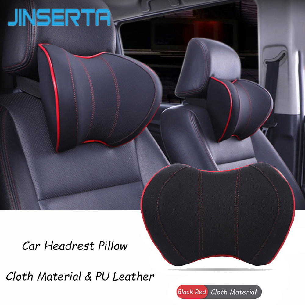 JINSERTA PU Leather Car Neck Pillow Memory Foam Car Seat Cushion Head Back Neck Rest Pillow Automobiles Car Accessories Headrest