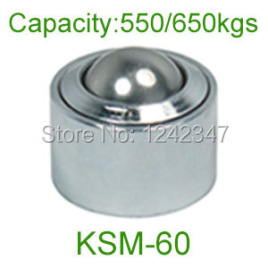 2pcs 60mm chrome bearing steel ball KSM-60 650kg heavy duty Convex out wheel universal ball transfer unit for floor conveyor