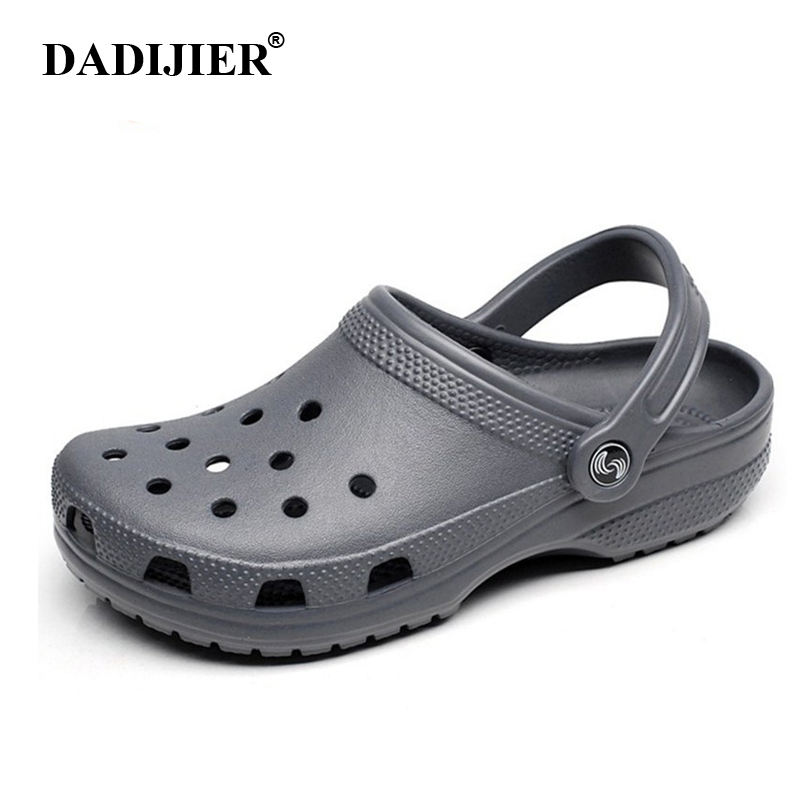 DADIJIER 2018 Men Sandals Summer Slippers Shoes Croc fashion beach Sandals Casual Flat Slip On Flip Flops Men Hollow Shoes ST263 women sandals summer slippers croc shoes fashion beach sandals casual flat slip on flip flops female hollow outdoor shoes women