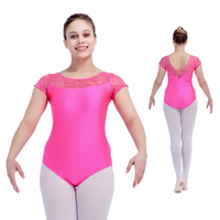 Royal Blue Shiny Nylon Lycra Lace Cap Sleeve Ballet Leotard Red Girls Dance Costume Pink Black
