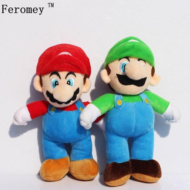 25 centímetros Super Mario Brinquedos De Pelúcia Luigi Super Mario Bros Fique Mario Irmão Recheadas Brinquedos de Pelúcia Dolls Presente Para As Crianças alta Qualidade
