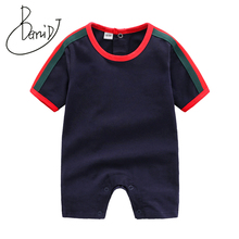 2019 Summer Baby Boy Romper Short Sleeve Cotton Infant Jumpsuit Striped Baby Girl Turn-down Collar Rompers Newborn Baby Clothes picturesque childhood official store 2018 gentleman rompers baby clothes full sleeve solid turn down collar boy 2 1 set hot sale