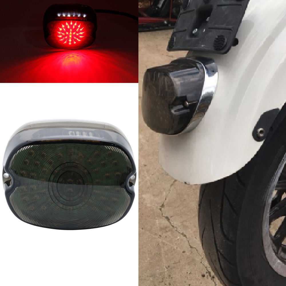 12V Smoke Integrated LED Brake Taillight with License Plate Lamp Fit for Harley Road King Sportster XL883 1200
