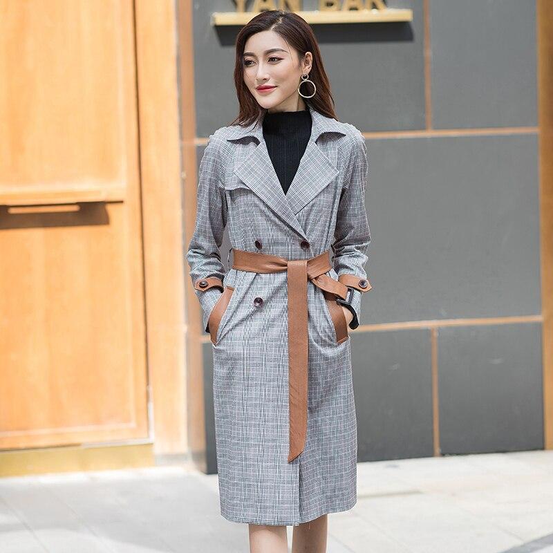2018 Grille Automne Stitching Stitching Women'scoat vent Col Coréenne Costume blue Veste British Mode Couture Hiver Mince New Brown De Coupe Longue Femmes rrzdq