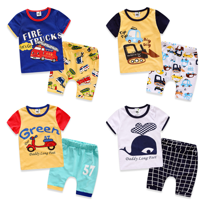 Child sport suit 100% cotton 2017 boys summer sets baby short-sleeve cartoon print t-shirts + shorts casual clothing sets