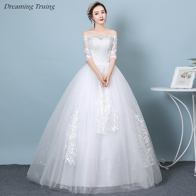 Shiny Half Sleeve Ball Gown Wedding Dresses With White Appliques Lace Up Boat Neck Off Shoulder Bridal Dress Robe De Mariee 2019