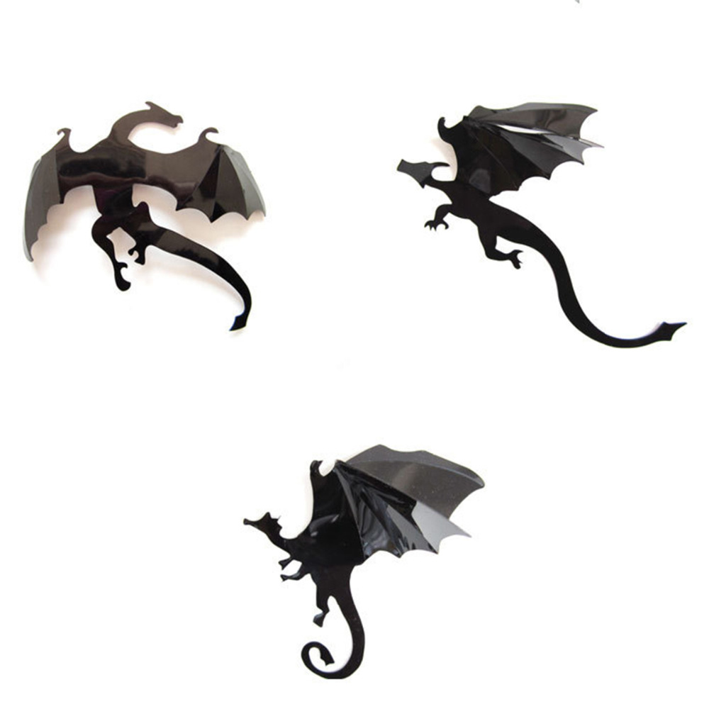 1 set diy pvc dragon 3d wall stickers halloween decoration wall decals vintage poster background decorative
