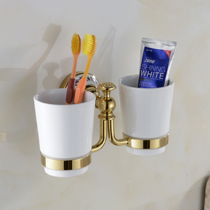Cup & Tumbler Holder Double Ceramics Cup Holder Toothbrush Holder Bathroom Accessory Ware Bathroom Furniture Toilet XE3387 2017 latest model rubber spray technology black single tumbler cup holder toothbrush holder bathroom accessory