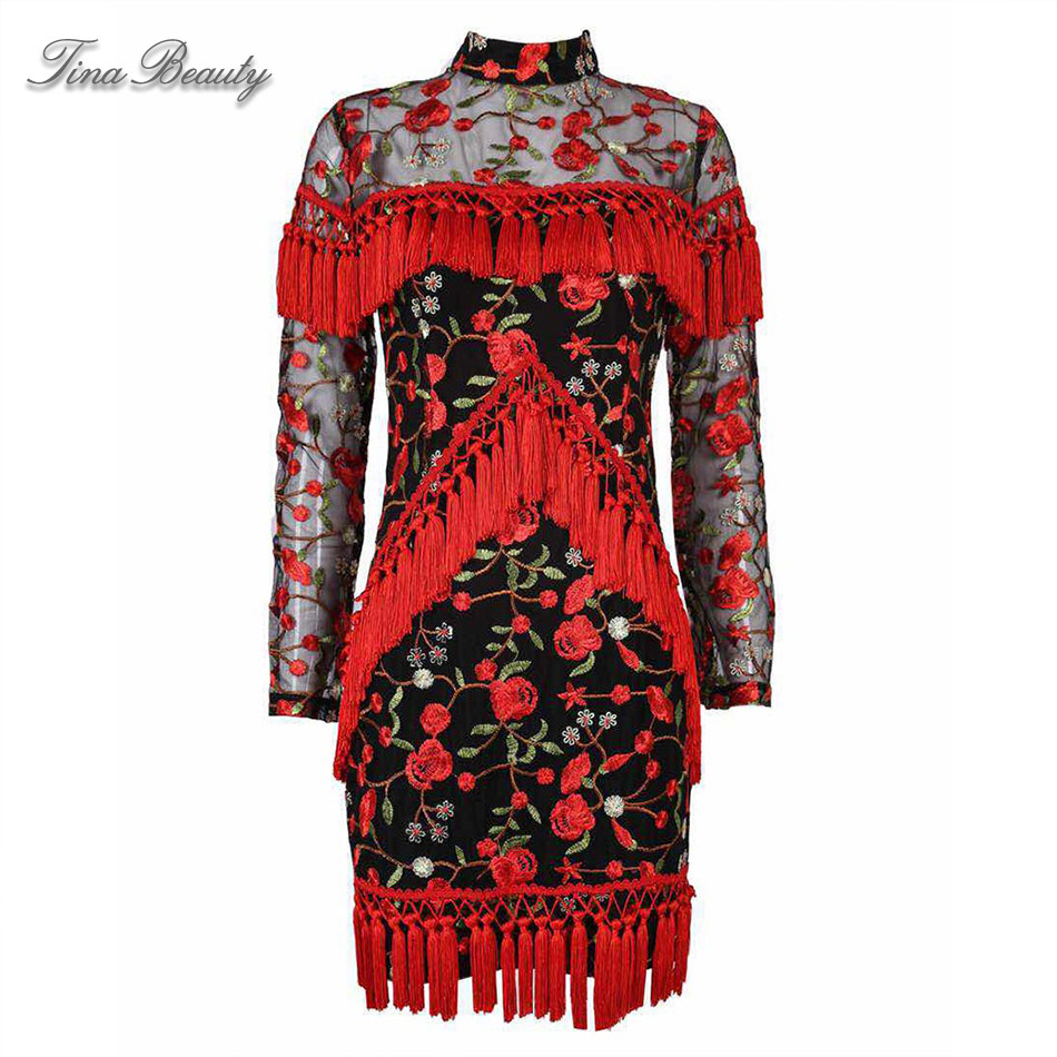 Tina Beauty femmes rouge col haut manches longues Mini robe gracieuse maille Floral broderie gland moulante gaine robe - 4