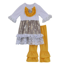 Special Design Fall Winter Girls Boutique Outfits Lace Top Orange Ruffle Pant Wholesale Children kid Clothing Sets In Stock F004