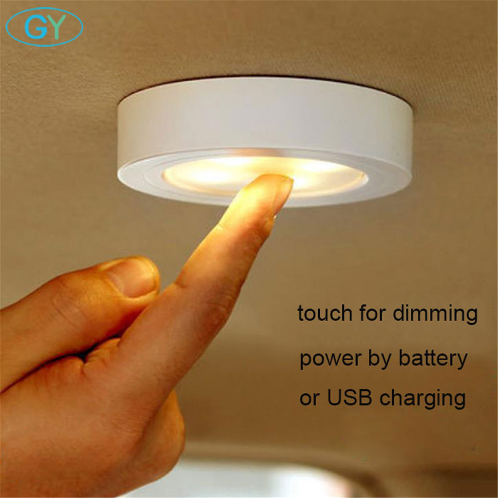 Black White Brown 1.2W 6 LED Closet Cabinet Lamp Battery USB 5V Stick Tap Touch Dimmable Security Kitchen Wall Car Night Light(China)