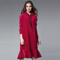 Yeni kış Büyük boy bayan sıcak elbise gevşek casual ruffles kapşonlu uzun kollu ince ortak fishtail elbise artı-boyutu için XL 4XL
