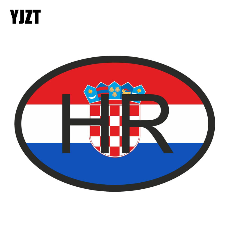 YJZT 13.4CM*9CM Croatia HR Car Sticker Flag Country Code Decal Accessories 6-0926
