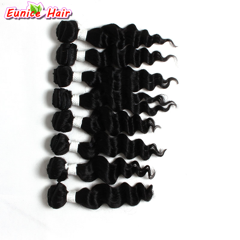 Natural Black Loose Wave Hair Brazilian Deep Weave Hair Weft Ombre Kinky Curly Hairpiece 8pcs/Pack 1 Pack For A Full Head Hair