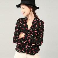 PIXY шелковая блузка Cherry принт женские офисные Топы Для женщин рубашка с длинными рукавами camisas mujer Harajuku белый черный Корейская уличная