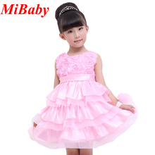 2016 New Pink Girl Dresses Flower Layered Dress Sleeveless 1-5 Years Baby Girl Party Wedding White Bridesmaid Dress Bow Cloth