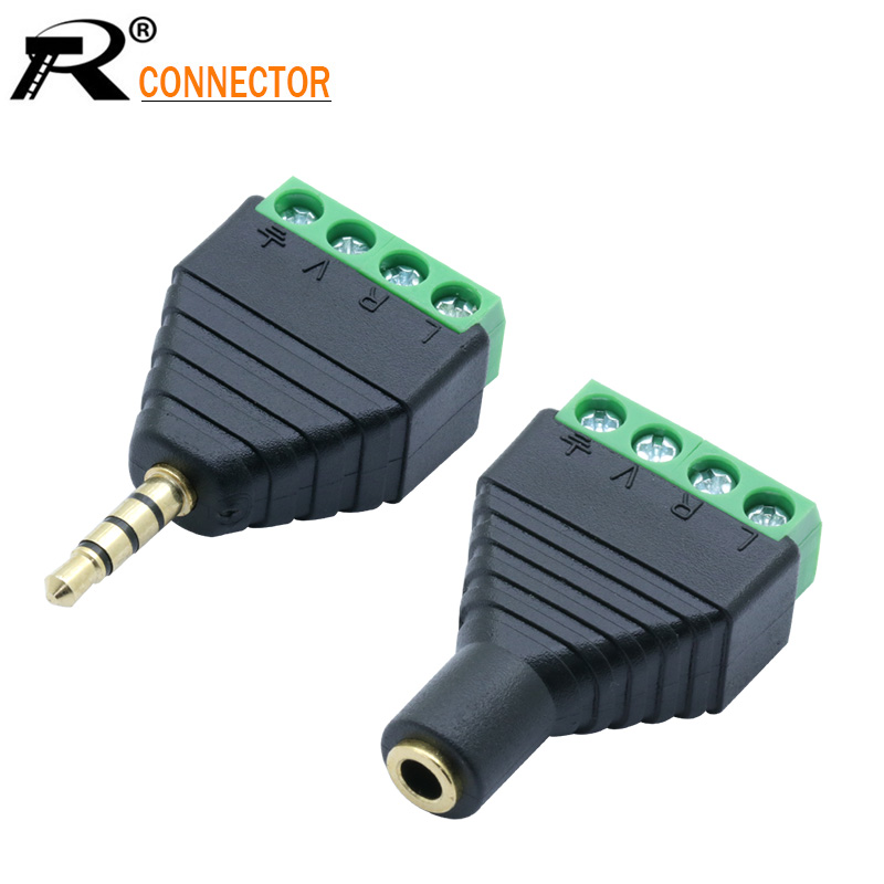 1set Male&Female Video AV Balun 3.5mm 4 Pole Stereo Male To AV Screw Terminal Stereo Jack 3.5mm Female 4 Pin Terminal Block