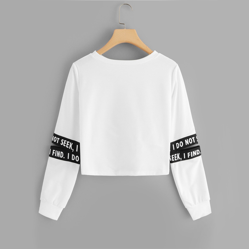 White Twist Detail Sleeve Cut Letter Crop Sweatshirt For Women