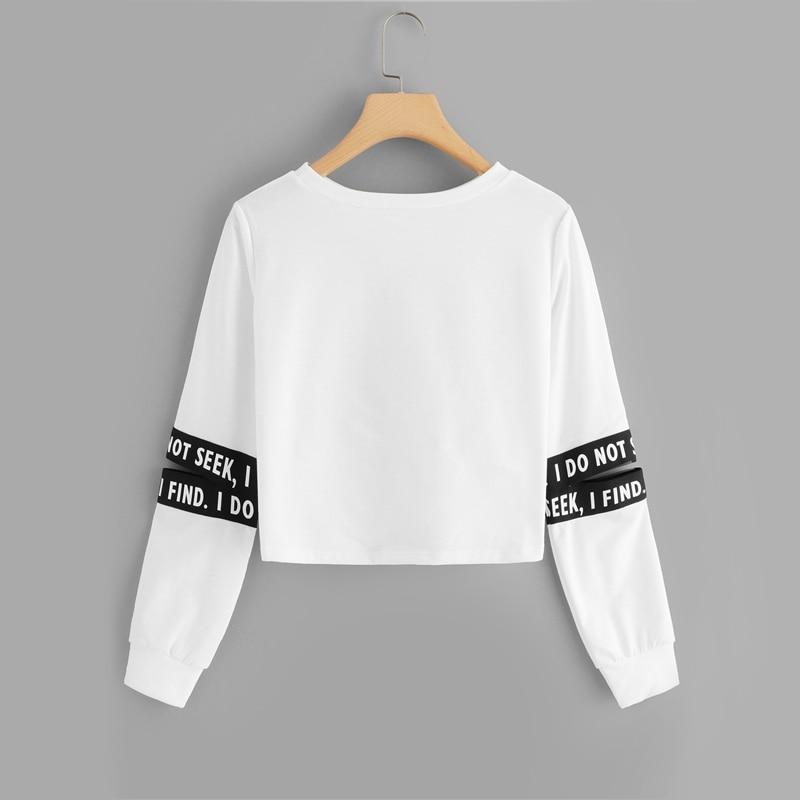 White Twist Detail Sleeve Cut Letter Crop Sweatshirt For Women