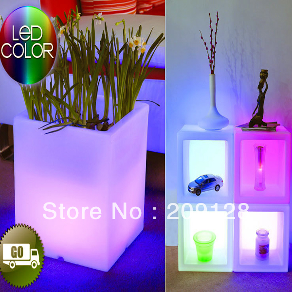 38cm PE Plastic Outdoor home garden pot colours change Waterproof Cube LED Light Planter
