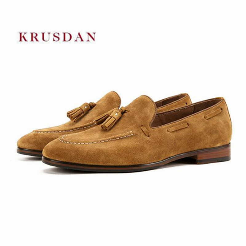 KRUSDAN Casual Brown Cow Suede Tassel Men Shoes Handmade Slip On Slipper Dress Business Wedding Shoes Men British Loafers FlatsKRUSDAN Casual Brown Cow Suede Tassel Men Shoes Handmade Slip On Slipper Dress Business Wedding Shoes Men British Loafers Flats